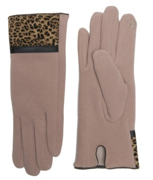 Leopard Print Trim Touch Screen Gloves