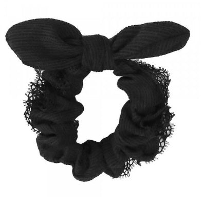 Solid Color Lace Trim Knotted Scrunchie