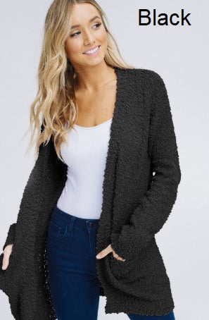 Racheal Popcorn Long Sleeve Open Front Cardigan