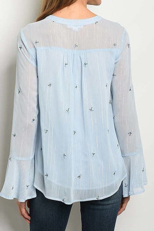 Sheer Stripe Floral Embroidered Detail Top