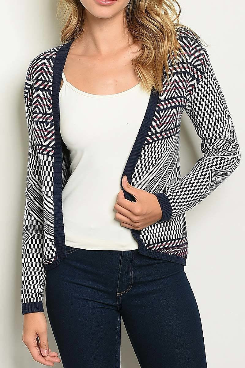 Print Open Front Fitted Cardigan