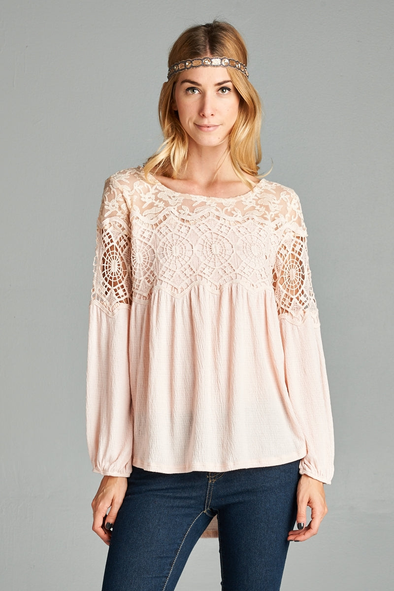 Long Sleeve Crochet Top