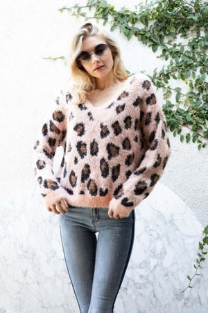 V-Neck Leopard Animal Cozy Thick Knit Sweater