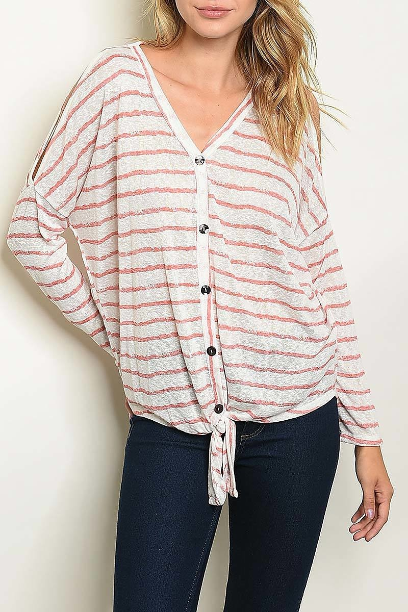 V-Neck Button Down Tie Stripe Top