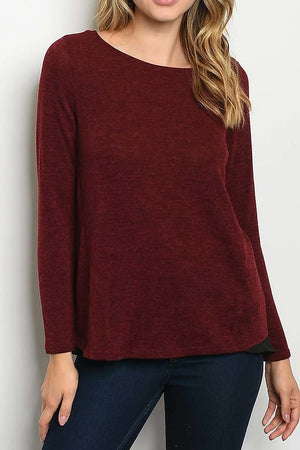 Round Neck Layered Color Block Top