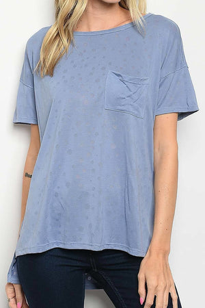 Short Sleeve Round Neck Hi-Lo Simple Top