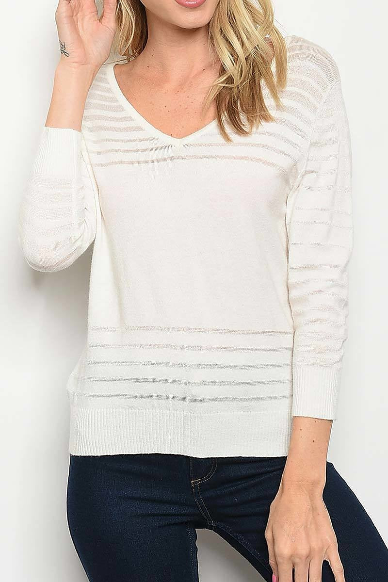 Burnout Stripe V Neck Knit Top