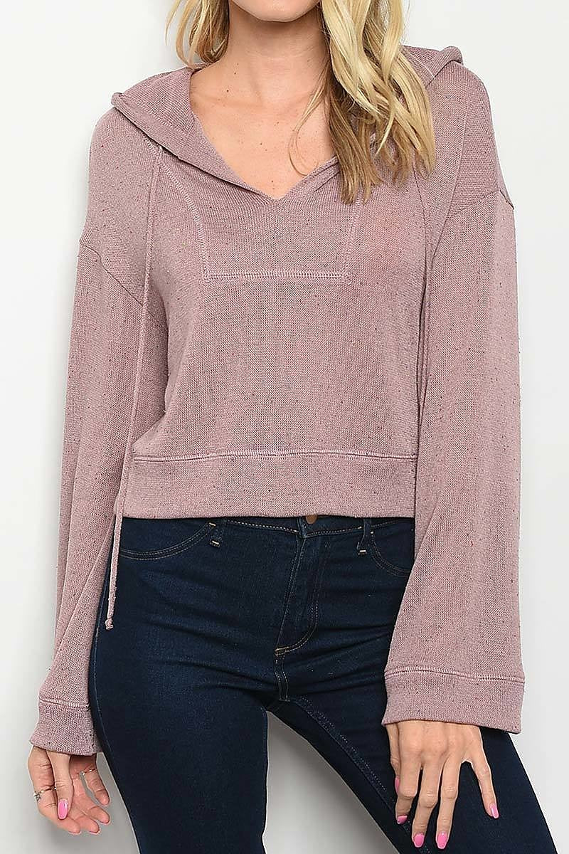 Long Sleeve V Neck Hooded Knit Loose Fit Top