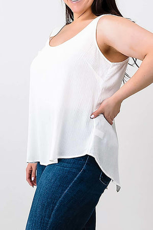 Scoop neck vent Boho Tank Top