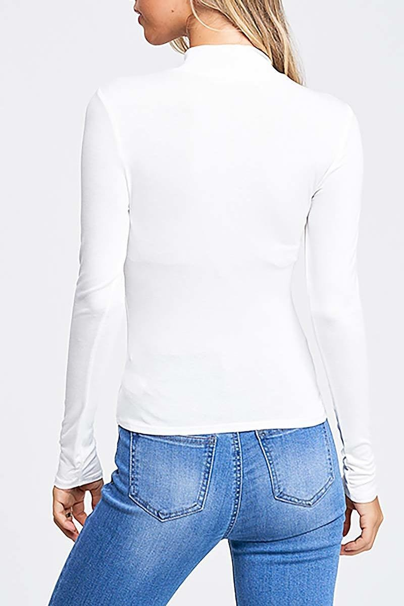 Long Sleeve Mock Neck Simple Knit Top