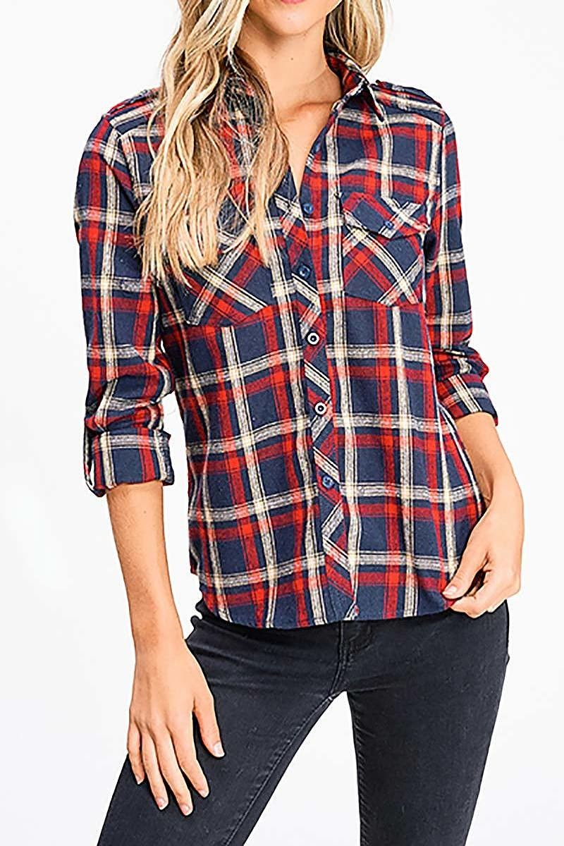 Plaid Flannel Long Sleeve Button Up Blouse Top