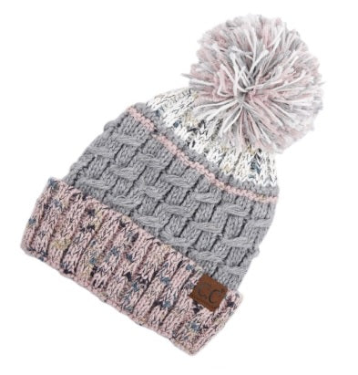 CC Three Tone Confetti Yarn Pom Beanie