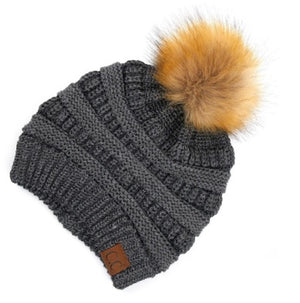 CC Metallic Ribbed Beanie With Faux Fur Pom