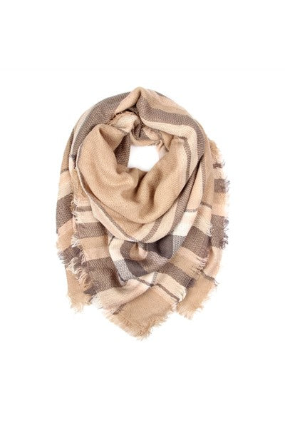 Blanket Fringe Scarf Light Brown
