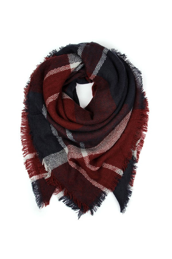 Burgundy Fringed Blanket Scarf