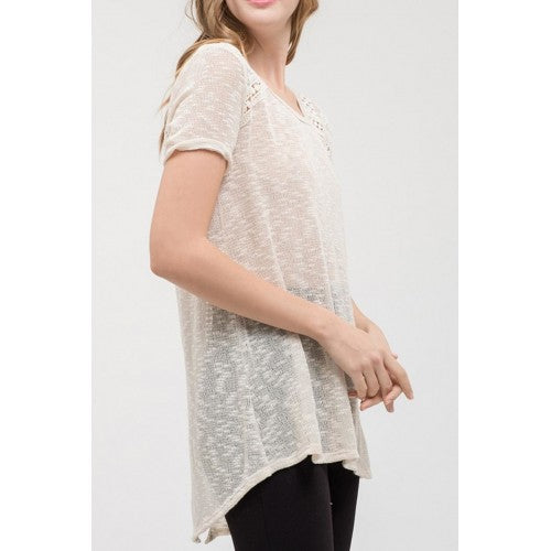 Round Neck Knit Top With Back Detail
