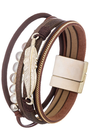 Faux Leather Bracelet with Feather Pedant