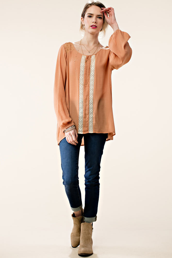 Long Sleeve Lace Insert Pleated Woven Top