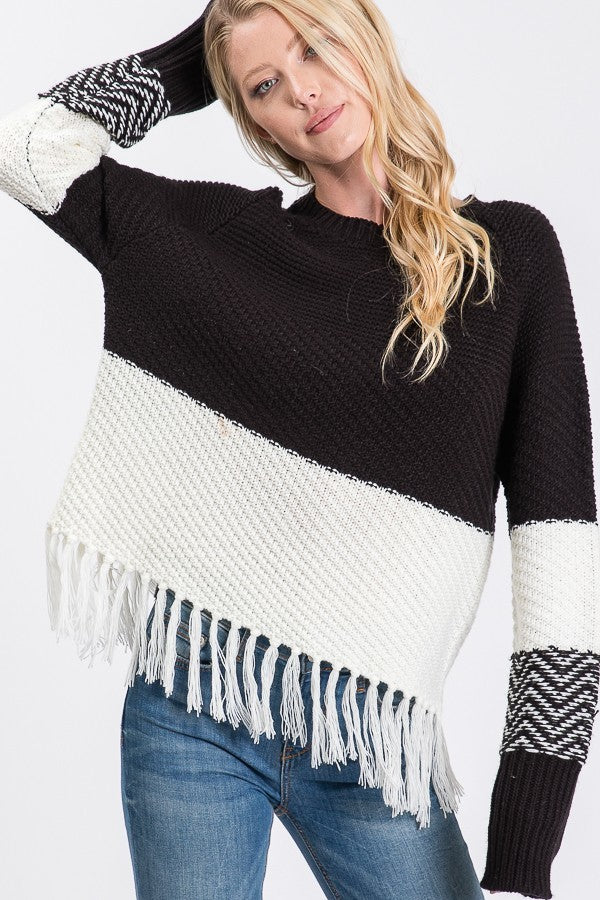 Sweater Knitting Long Sleeve Color Block Sweater