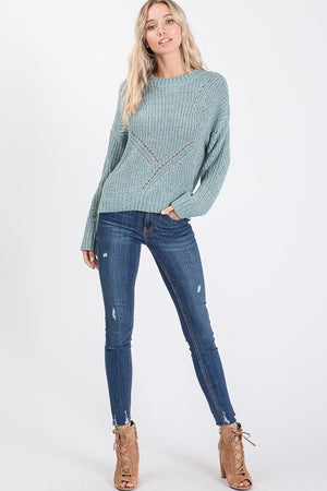 Patterned Knitting Sweater Round Neck
