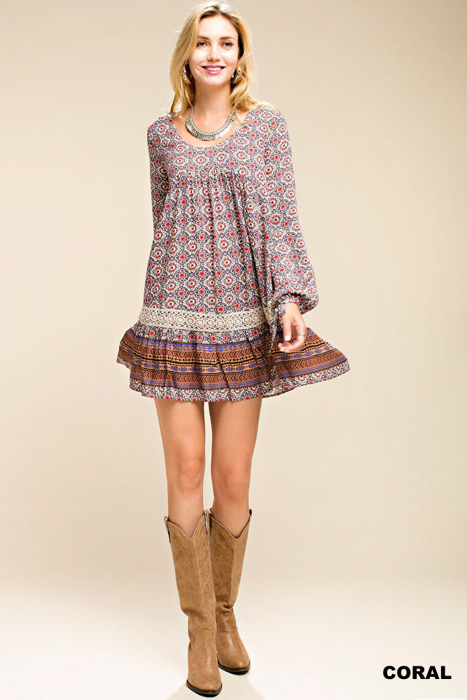 Long Sleeve Trim Lace Ruffle Bottom Dress