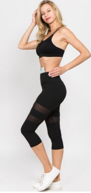 Workout Leggings with Breathable Mesh