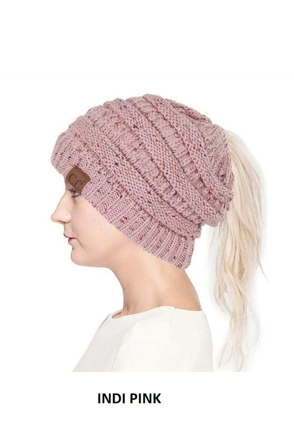 CC Beanie Tail Soft Stretch Cable Knit Messy High Bun Ponytail Beanie Hat