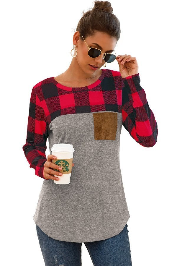 Plaid Patchwork Long Sleeve Top