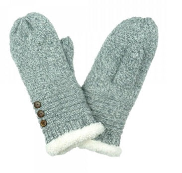 Knit Mittens with Button Detail