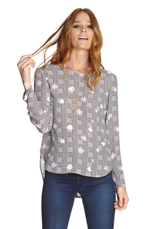 Grey Striped Floral Blouse w/Button Back