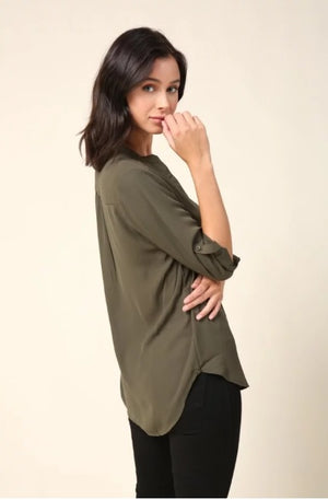 3/4 Rolled Sleeve V-Neck Blouse