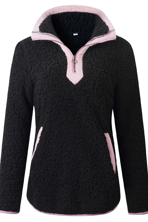 Long Sleeve Half Zipper Pullover Top