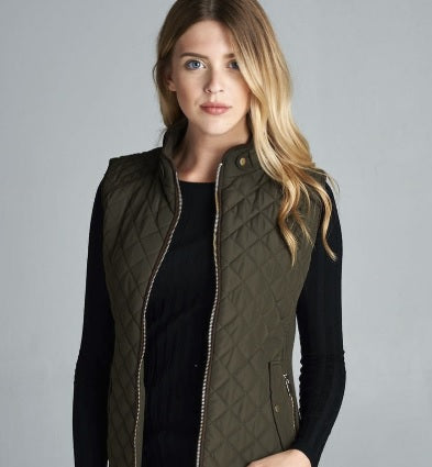 Quilted Padded Vest with Shearling Lining