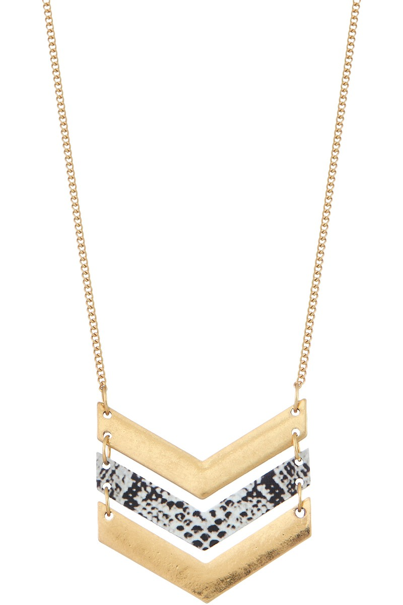 Chevron Pendant Necklace with Snake Print