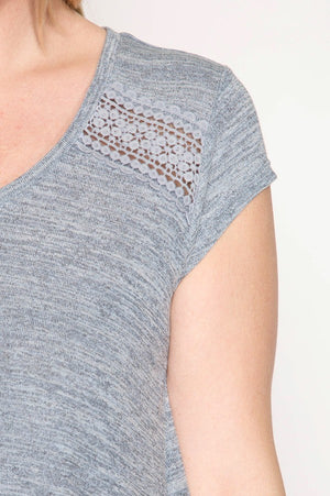 Cap Sleeve Two Tone Top W/Lace Trim Detail