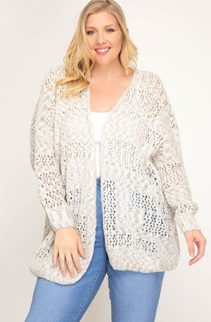 Long Sleeve Open Front Sweater Cardigan