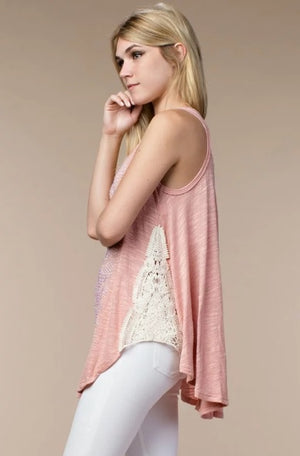 Tank Top With Stones and Lace Detail