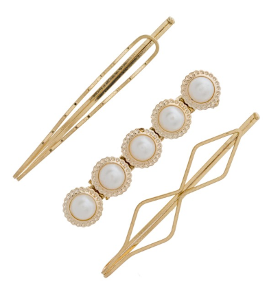 Hair Pin Clip Set with Pearls and Geometric Shapes