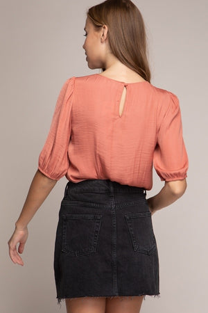 Elbow Sleeve Blouse Terra Cotta