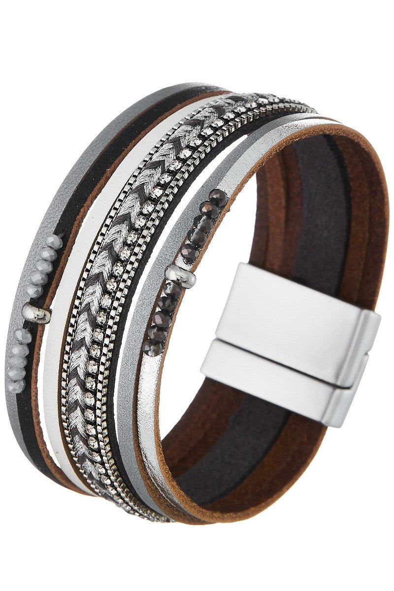 Faux Leather Magnetic Bracelet with Crystal Beads