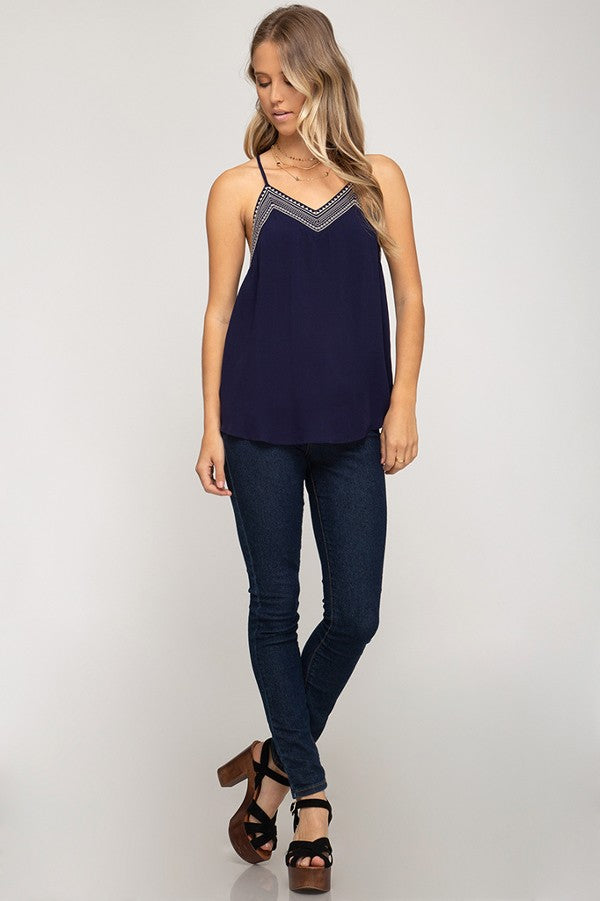 Embroidered Hem Detail Tank Top