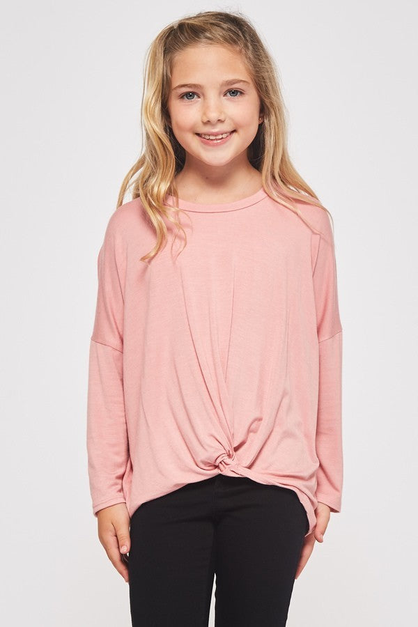 Kids Size Solid Knotted Top - Purple