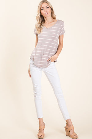 Casual V-Neck Stripe Top