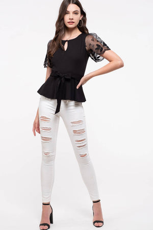 Lace Combination Sleeve Knit Top