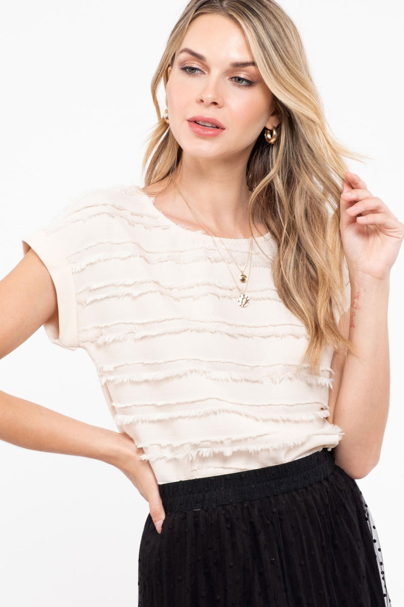 Cap Sleeve Woven Textured Top