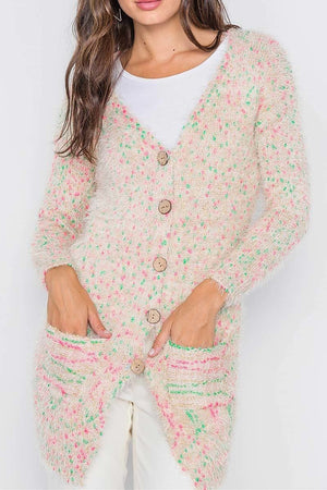 Fuzzy Knit Button-Front Cardigan