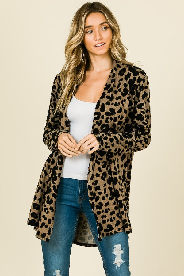 Animal Print Open Cardigan-Hacci Fabric