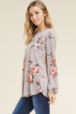 Relaxed Fit Long Sleeve Floral Top