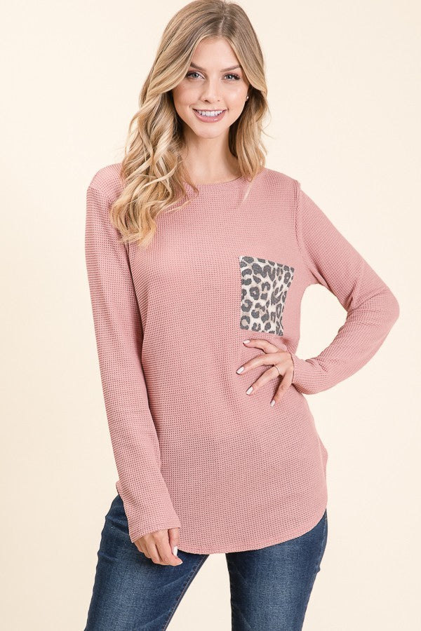 Animal Chest Pocket Long Sleeve Top