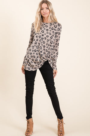 Animal Print Front Twist Top
